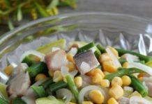 Zivju salāti ar zaļajām pupiņām un ābolu