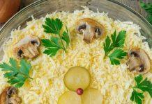 Tsarskiy salāti ar vistu un sēnēm - garšīga un oriģināla recepte