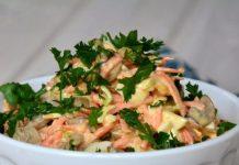 Salāti ar vistu, sēnēm un pupiņām