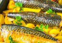 Krāsnī cepta makrele ar kartupeļiem
