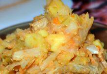 sautēti kāposti ar kartupeļiem un gaļu