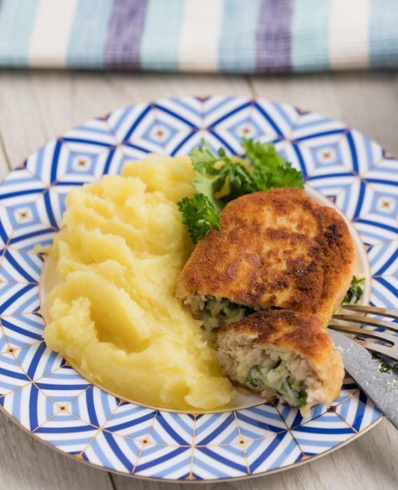 escalopes de poulet au fromage et aux herbes