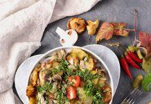 khoai tây chiên với nấm