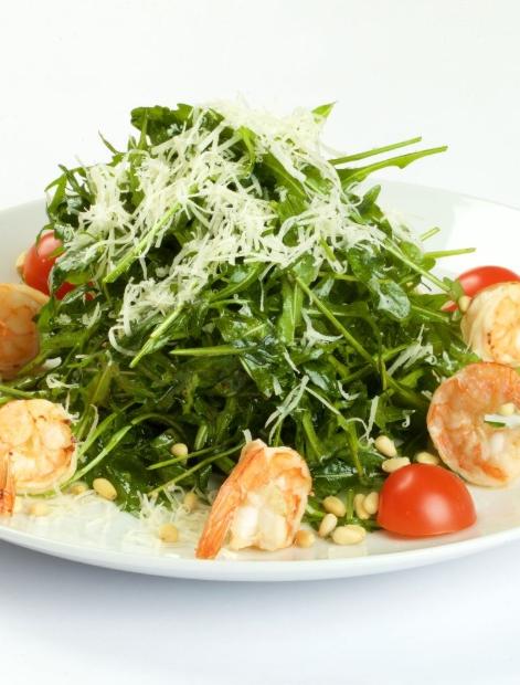 Salade de roquette et crevettes