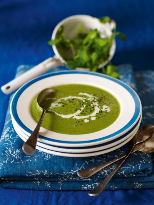 súp rau bina với kem và bông cải xanh